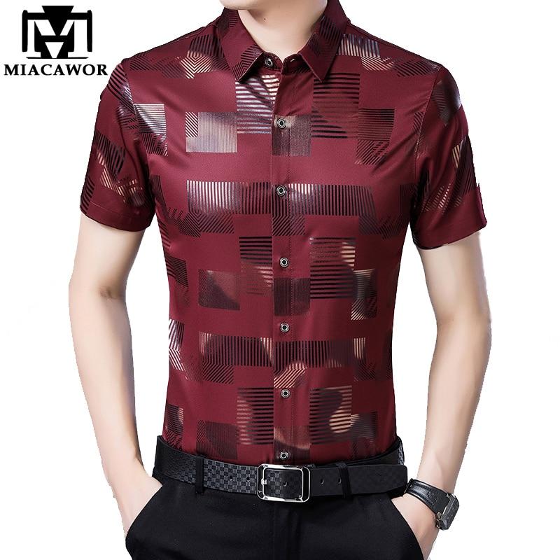 MIACAWOR New Short Sleeve Shirt Men Summer Camisa Masculina Brand Design Camisa Hombre Slim Fit Casual Shirts C503
