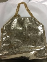 37cm Real picture shaggy deer golden chain PVC 3 chains fold over heavy chain disc  luxury handbag
