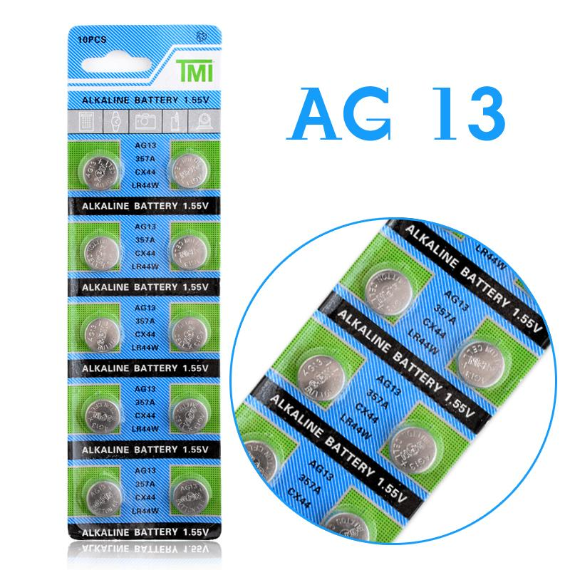 YCDC Hot Sale Hot selling 10 Pcs AG13 LR44 357A S76E G13 Button Coin Cell Battery Batteries 1.55V Alkaline EE6214 стоимость