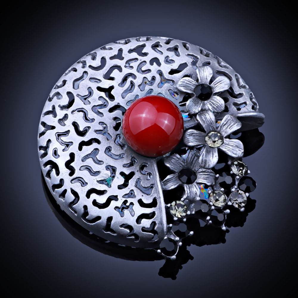 Colorful Simulated Pearl Brooches Vintage Jewelry Black Gun Plated Metal Round Pins And Brooch For Women