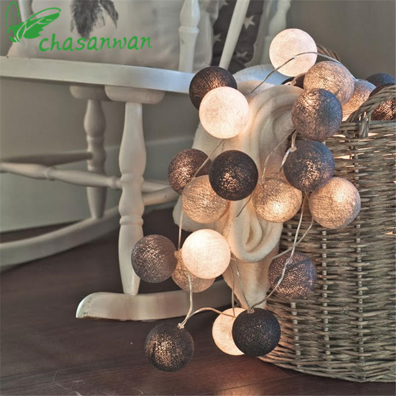 New Year Decor 3m 20 LED Colorful Cotton Ball LED String Lights Christmas Decoration for Home