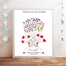 Love Wedding Car,Customize Name Date Fingerprint Signature Guest Book,DIY Thumbprint Guestbook For Wedding Party Decoration