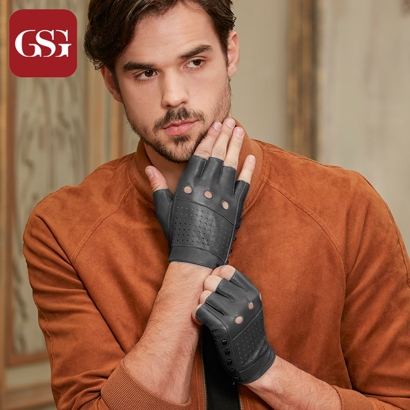 GSG Fingerless Men Leather Gloves Summer Genuine Leather Driving Gloves Fashion Gloves Half Finger Motor Black Gloves Unlined