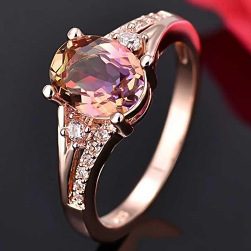 2019 anéis de ouro rosa real natural turmalina rosa genuíno anel de jóias presente festa anel de pedra preciosa para as mulheres