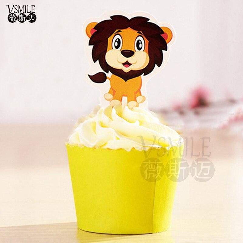 50 Stks Cool Lion King Rode Stropdas Panda Papier Cupcake Topper Mary Kat Olifant Pick Voor Verjaardag Bruiloft Decoratie In Pain