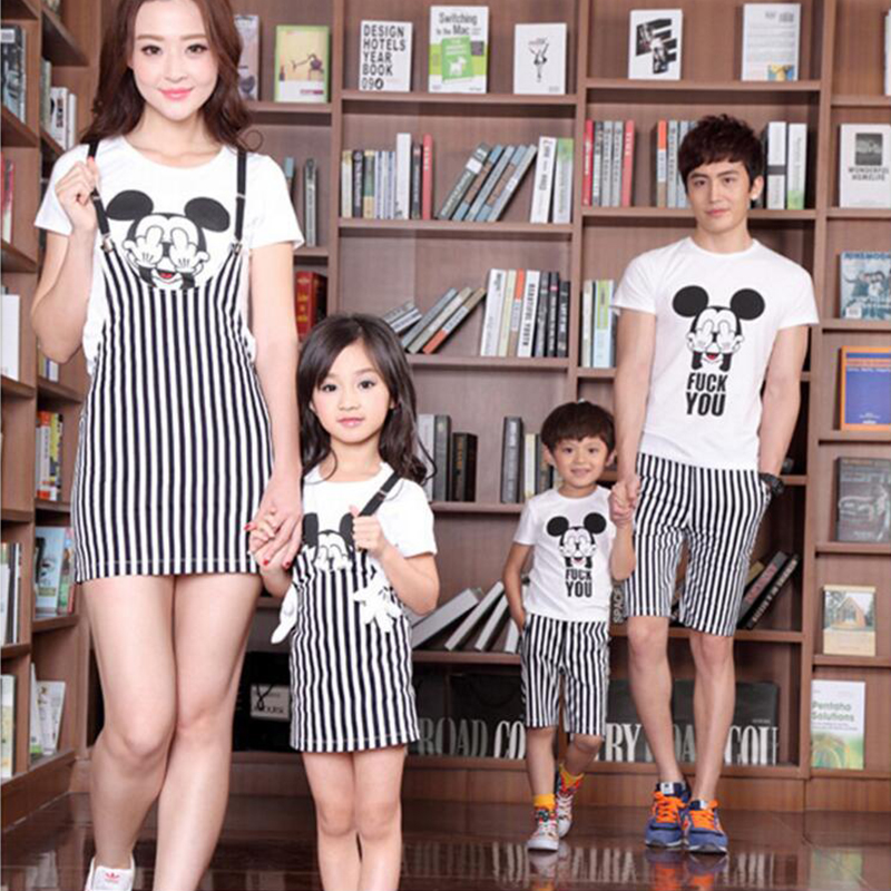 New Kids Girls Sets Two-Piece Pullover Mickey Printed Shirt + Striped Suspenser Dress Suits  For Girls Children Clothes