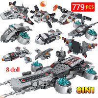 The Shield Aircraft Carriers Marvel Super Heroes Space Ship Iron Man Action Figure Blocks Bricks Toys For Boys 8 in 1