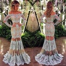 Atemberaubende Long sleeves Brautkleider Spitze Appliques Nixe Abendkleider Illusion party kleid vestido de festa longo