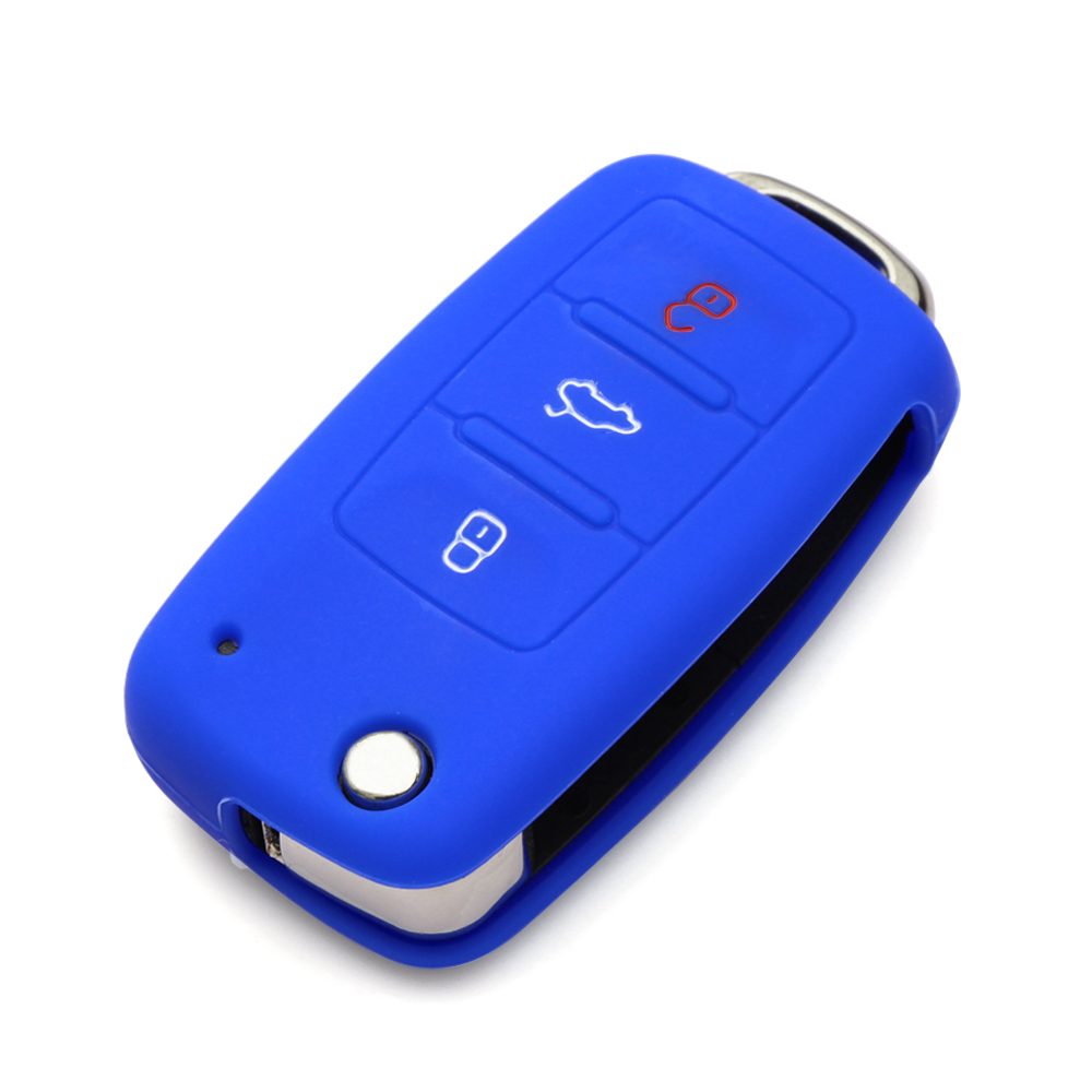 Image 2 - Car styling Silicone car key cover For Skoda Octavia 2 A5 Fabia Rapid Superb Citigo Yeti ,3 Buttons fold  key-in Key Case for Car from Automobiles & Motorcycles