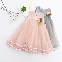 Free Shipping 2017 New Summer Girls Dress Mesh Girls Clothes Pink Applique Princess Dress Children Clothes