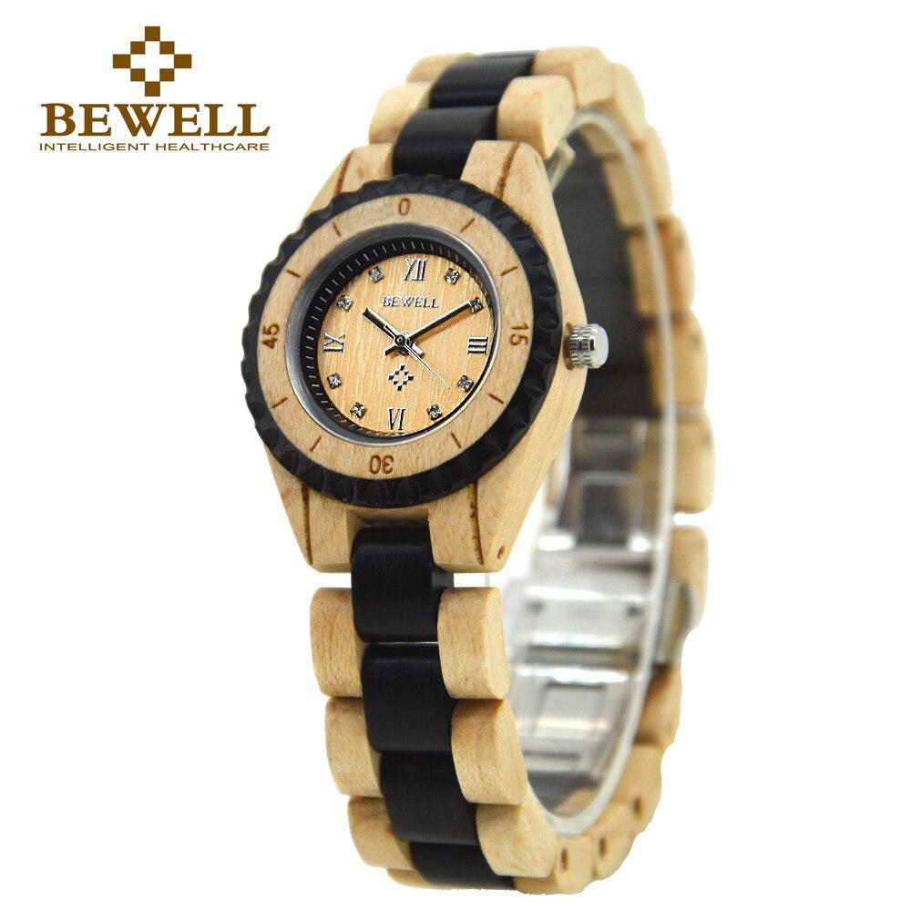 Prix pour Bewell bois montre 2016 de luxe de marque montre femmes strass petit cadran quartz femmes montres étanches relogio feminino 128al