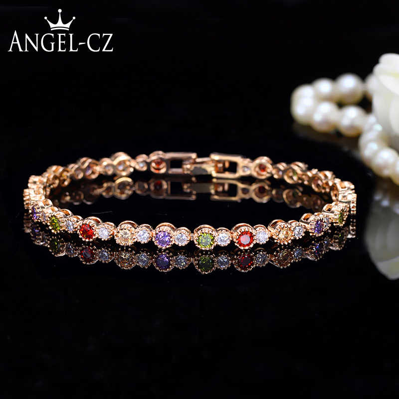 8afdcf79a91836 ANGELCZ Cute Gold Color CZ Jewelry Round Colorful Crystal And Cubic Zircon  Stone Setting Indian Tennis