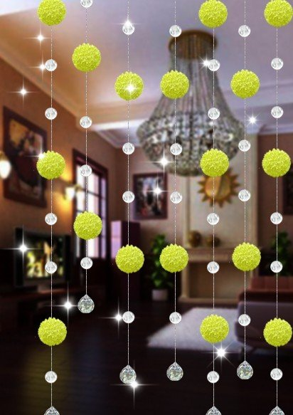 10meters/lot(min order is 10 meters), AAA+,glass Crystal wheel bead and wire ball Curtain Divider / glass Beaded Strands