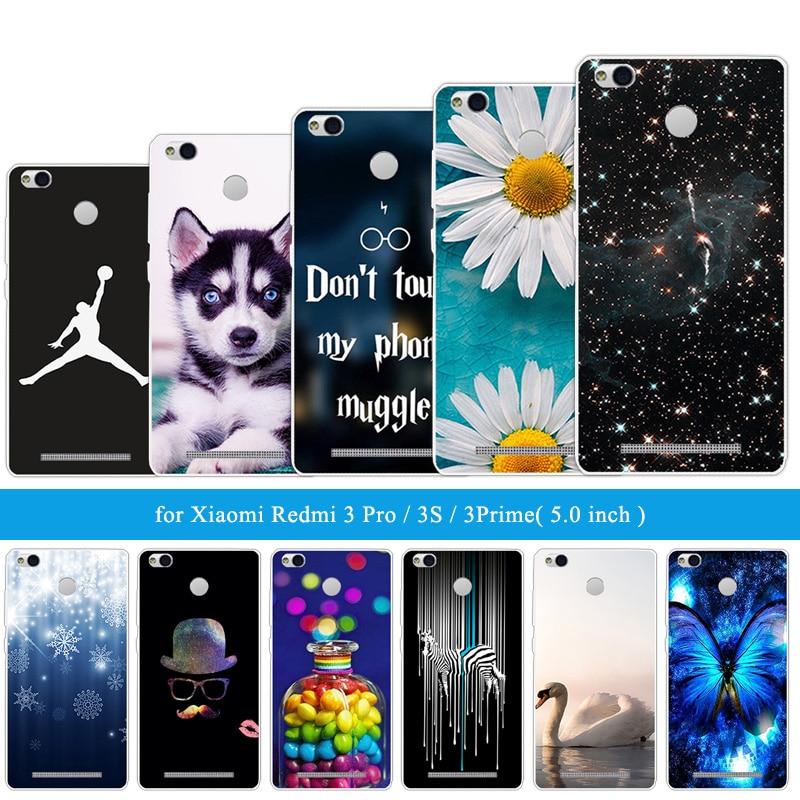 for Coque Xiaomi Redmi 3S Case Cover 5.0 Clear TPU Silicone Cases for Xiaomi Redmi 3 Pro Hongmi 3S 3 S Pro Black Funny Cat Capa