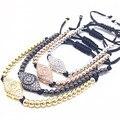 1 pcs Anil Marca Mulher pulseira Pave Definir CZ branco Olho do mal Conector com 4mm Rodada Bead Mulher Trança Macrame pulseira