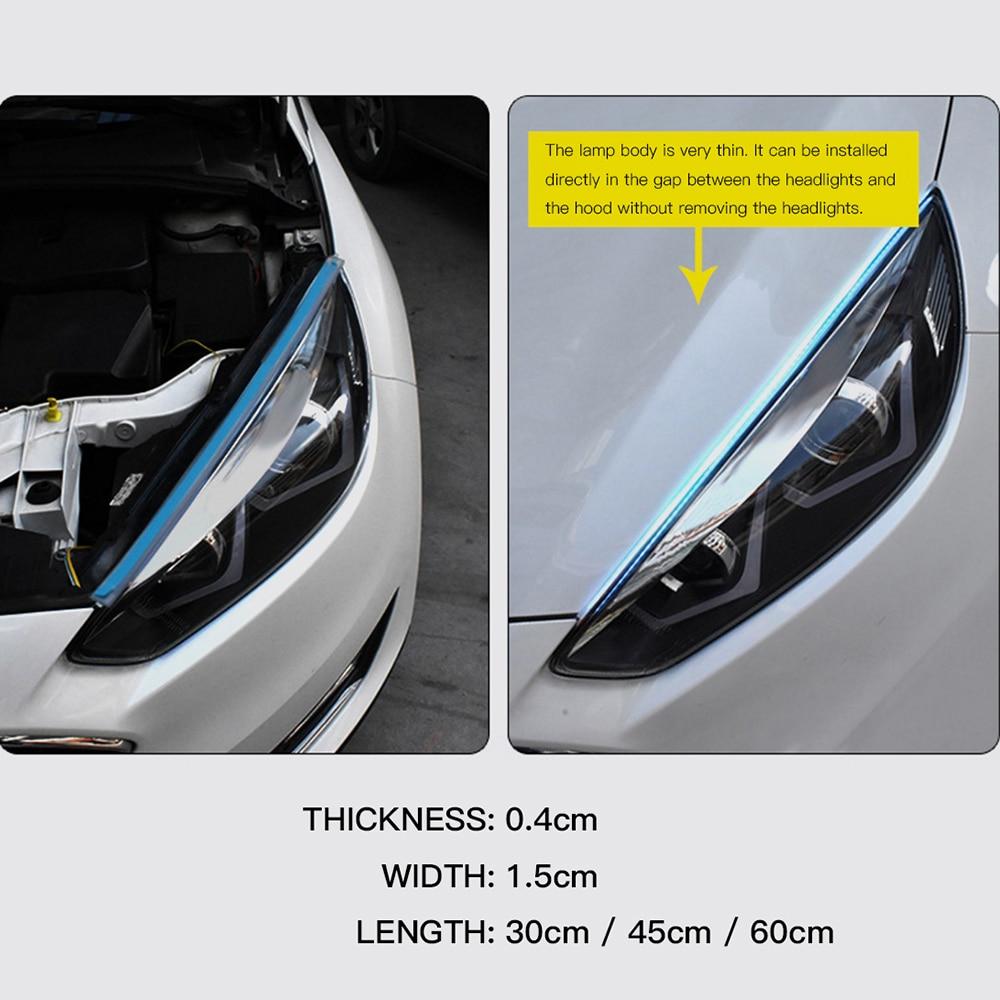 2x Ultrafine DRL 30 45 60cm Daytime Running Light Flexible Soft Tube Guide Car LED Strip White Red Turn signal Yellow Waterproof 4