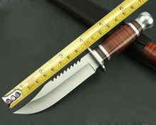 Sawback боуи фикчированный охотничий нож деревянной ручкой подчеркивает лезвие ножа тактический выживание нейлон оболочки 1420 #