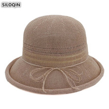 SILOQIN Elegant Noble Lady Beach Hat Breathable Sun Hats Foldable Summer Adult Womens Dome Ventilation Fashion Straw