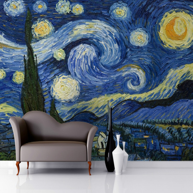 Awesome 3D Wallpaper For Wall 3d Starry Night Van Gogh Art Mural Wallpaper Mural  For Walls Background Photo Gallery