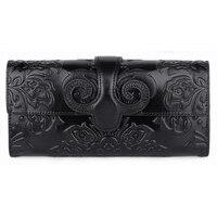 Guaranteed Genuine Oil Waxing Leather Embossing Flower Women Wallet Large Capacity National Style Ladies Multi function Purses