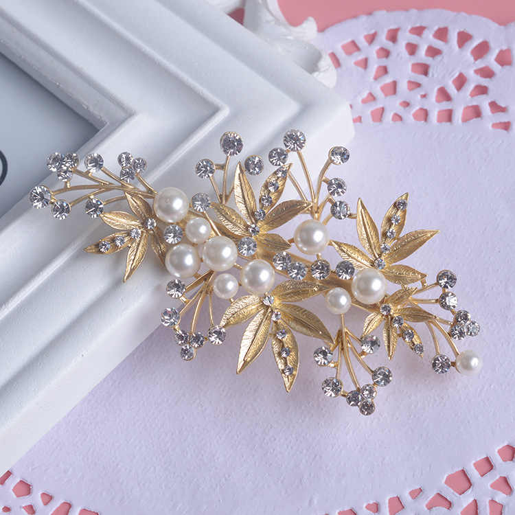 Fashion hair combs pearl jewelry crystal women hairpins bridal gold vintage hair ornament handmade wedding accessories 2pcs/set