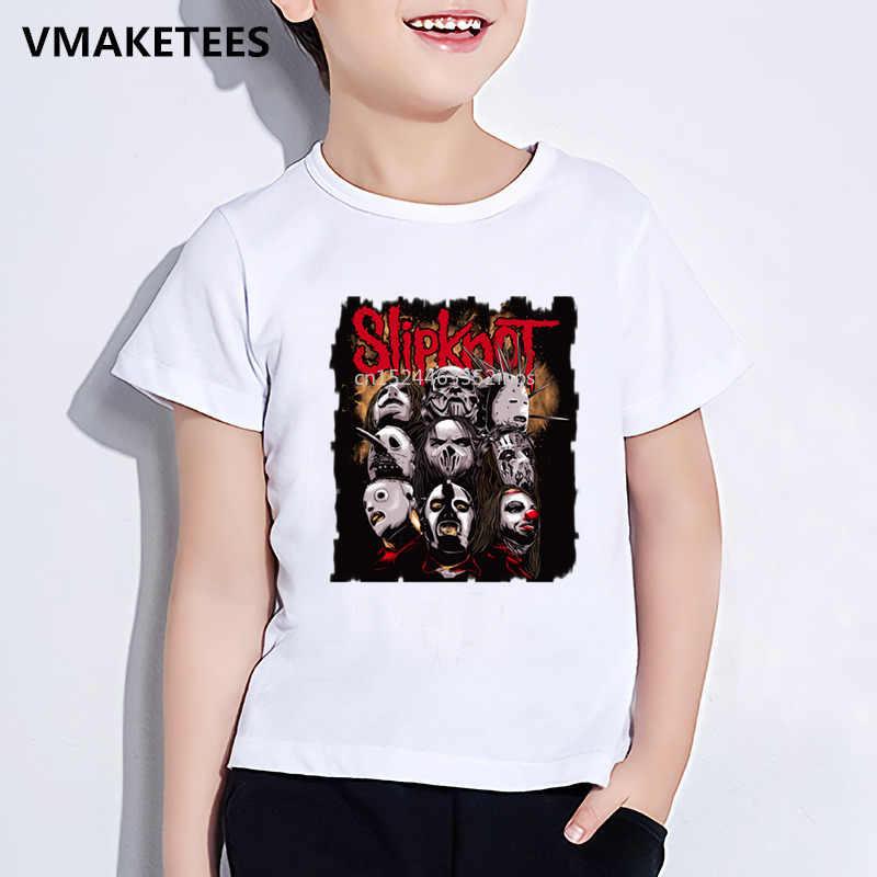 Enfants d'été à manches courtes filles et garçons T-shirt enfants Heavy Metal pantoufles Rock Band imprimer T-shirt Cool bébé vêtements, ooo326
