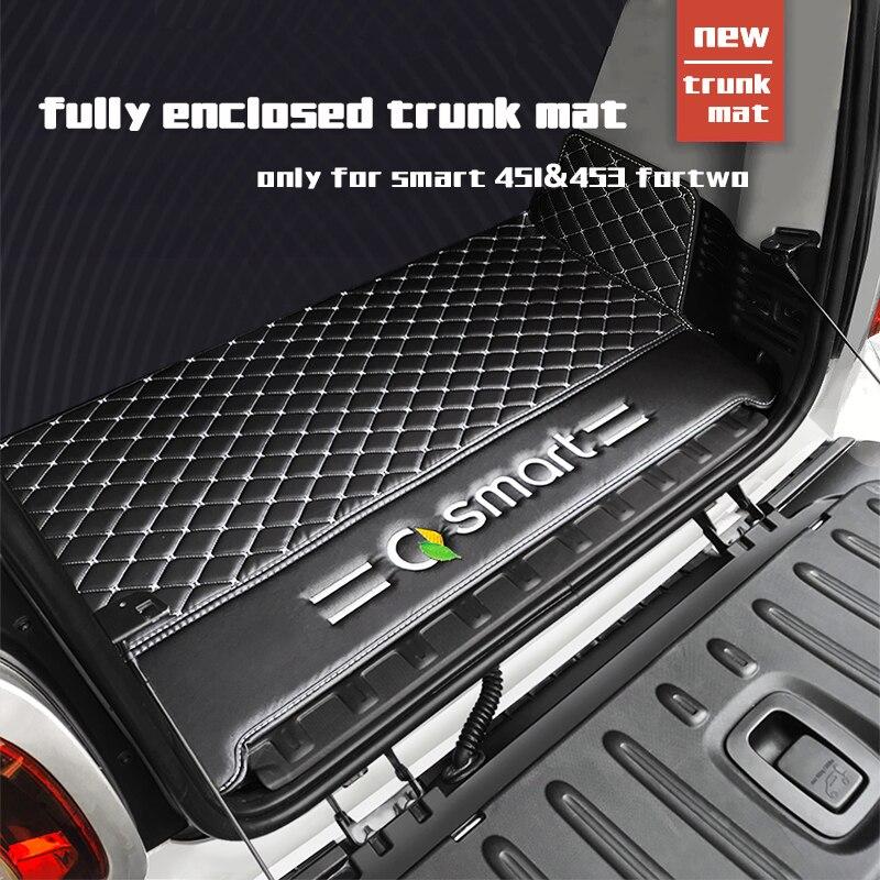 Smart 451 Smart 453 اكسسوار سيارات جلد مادة سيارة حصيرة خلفية جذع ل smart 451 smart 453 fortwo 2009-2019