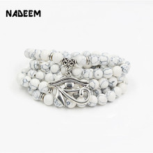 цены NADEEM Drop Shipping Trendy 108 Pcs Mala Howlite Stone Bead Eyes Charm Pendant Bracelet Necklace Yogi Jewelry Gift For Women Men