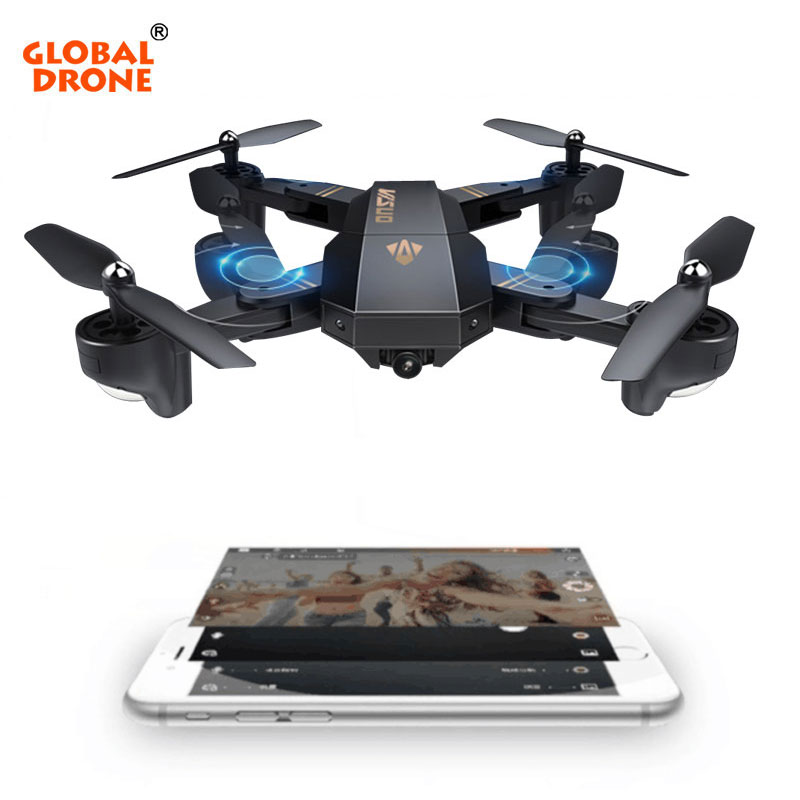 GLOBAL DRONE VISUO XS809HW RC Drone with Altitude Hold Mode Wifi FPV Quadrocopter with Wide Angle HD Camera VS E58 JY018