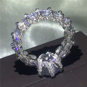 Image 2 - Choucong בציר פרח מבטיחים אצבע טבעת 925 סטרלינג כסף AAAAA cz אירוסין נישואים לנשים המפלגה תכשיטים