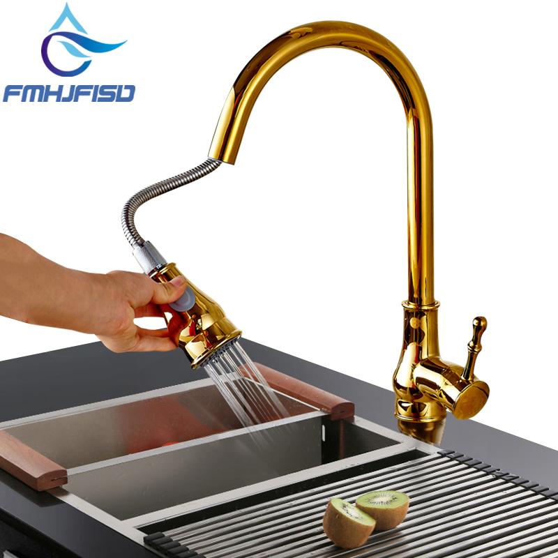 360 Degree Rotate Kithchen Faucet Gold Kitchen Sink Faucet Pull out Stream Sprayer Mixer Taps