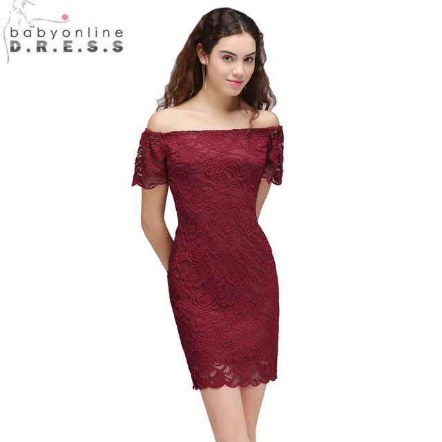 db449fc54df 2018 Burgundy Lace Off the Shoulder Bodycon Cocktail Dresses Sexy Short  Prom Dresses Party Dress Gowns