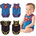 2015 Novos macacão de bebê dos desenhos animados superman batman estilo coração print bebes meninos macacão criança crianças trajes crianças sleepsuit 783C