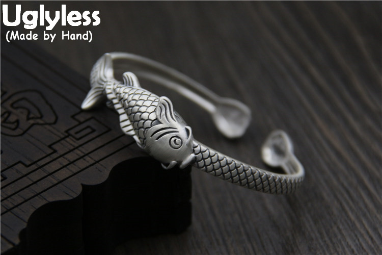 Uglyless Real S 999 Fine Silver Women Dress Jewelry Handmade Carved Fish Open Bangles Vintage Tribe Totem Patterns Bijoux Ethnic ethnic style totem print shirred waist dress