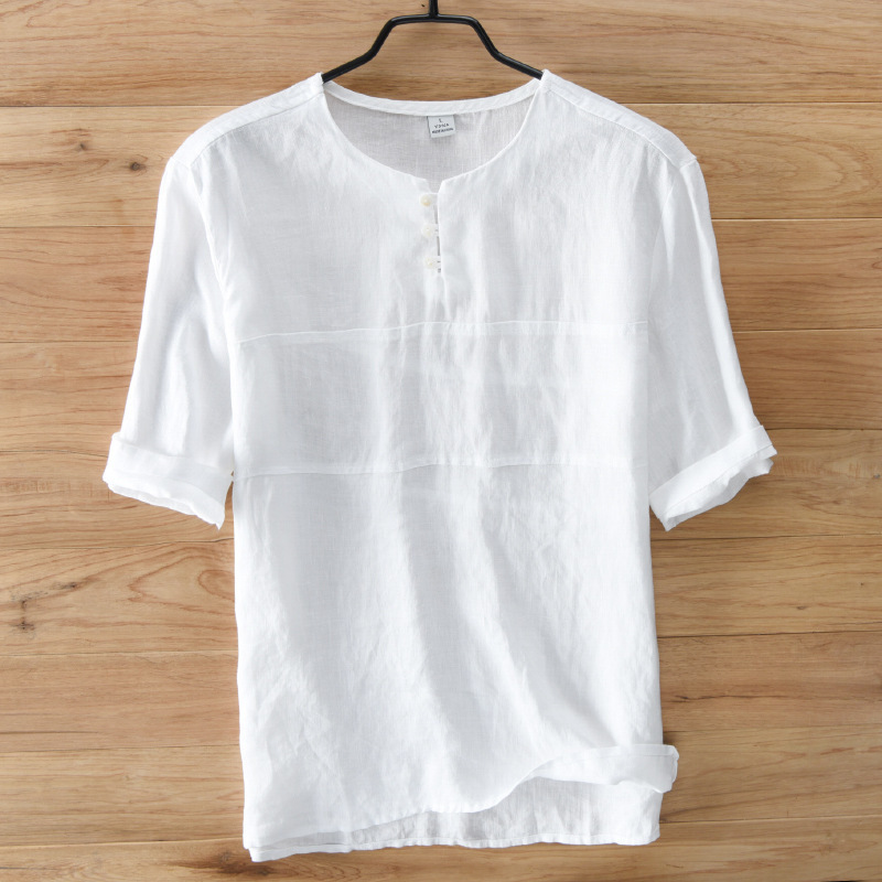 Casual Mandarin Collar Shirts Men Cotton Linen Designer Brand Slim Fit Man Shirts Short Sleeve White Shirts Man Clothes Summer