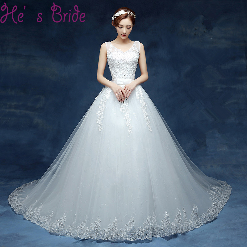 Appliques Lace with Beading Crystal Wedding Dresses Lace Up Floor length Bridal Wedding Gowns New Formal
