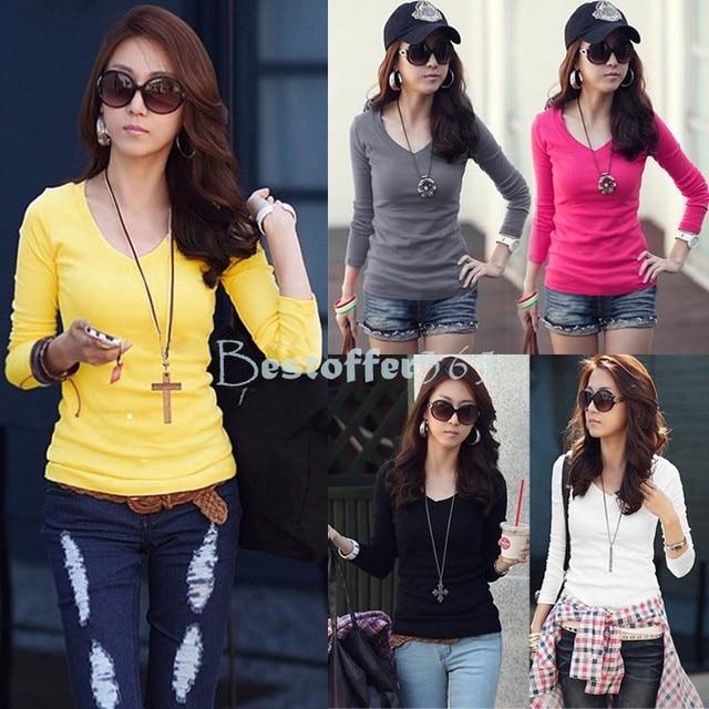 114dee6e253 New 2014 Hot Sale New Fashion Sexy T shirt Women Winter Solid Top Plain T-Shirt  Long Sleeve T-Shirt 22