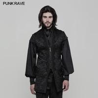 2018 Punk Rave Black Waistcoat Open Fork Victorian Gorgeous Retro Goth Fashion Long Men's Vest Jacket WY849