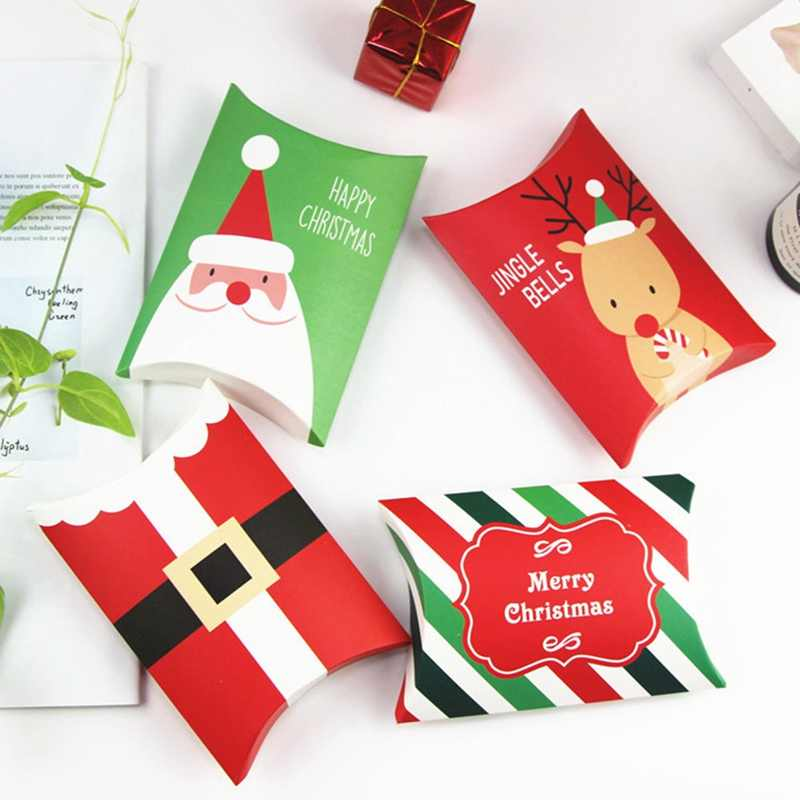 Christmas Gift Box Green Pillow Shape Happy Christmas Candy Box Bag Red Color Paper Cookies Boxes Christmas Gift Bag