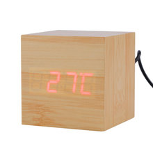 Modern Wooden Wood Square LED Alarm Clock Desktop Digital Thermometer Wood USB / AAA Thermometer Date Display Touch Enabled