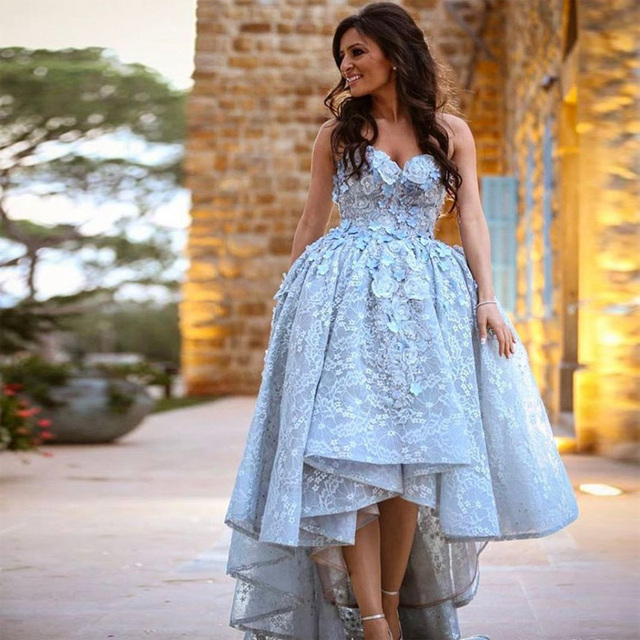 50c8faba10d Beautiful Light Blue Prom Dresses High Low Graduation Gown With 3D Floral  Appliques Custom Made Vintage Lace Dress Formal Wear