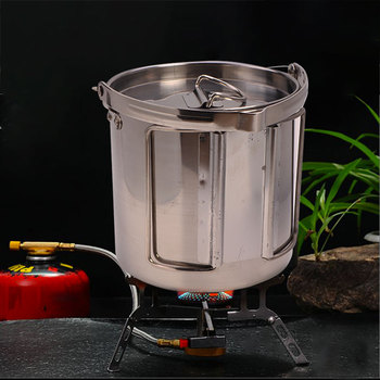 1.2L outdoor stainless steel kettles Mountaineering camping portable boil water hanging pot hot soup coffee tableware 1