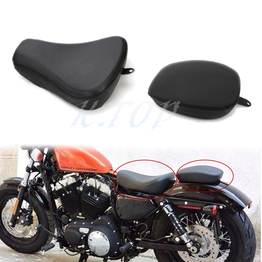Front Driver Solo Seat Rear Passenger Pad For Harley Sportster XL 883 1200 72 48