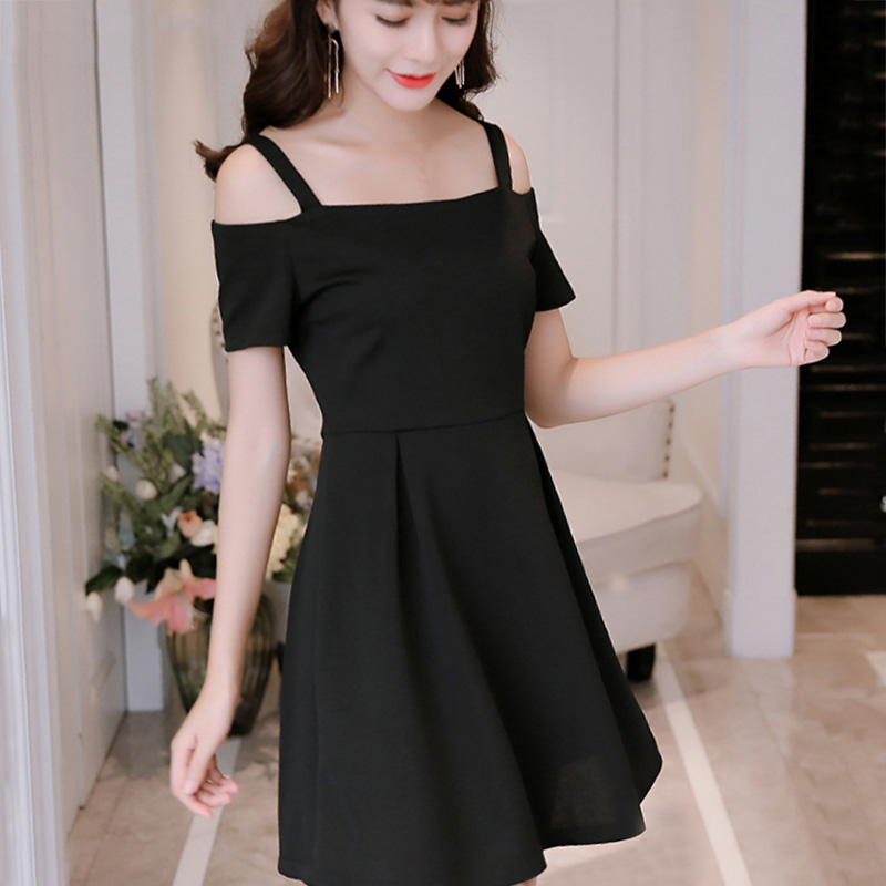 Summer <font><b>Sexy</b></font> Off the Shoulder mini <font><b>Dress</b></font> Women's Elegant Solid <font><b>Slash</b></font> Neck Short Sleeves <font><b>A</b></font>-<font><b>Line</b></font> Back <font><b>Dress</b></font> image