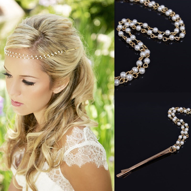 Women Imitation Pearl Tiara Boho Chic Bridal Head Chain Accessories Hair Jewelry Hairpin Hairband For Wedding