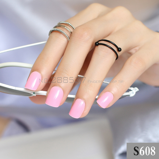 Bright Solid Color 24pcs False Nails Cute Powder Candy Short Round Square Head Simple Lovely Fake