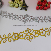 YACKALASI 6 Yard/Lot Gold Band   Lace   Cosplay Costume Appliqued Ribbon Iron On Trim Venice Metallic Trim 5CM-6.5CM(Widest)
