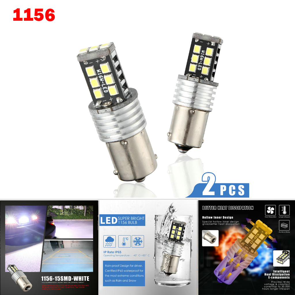 New LED Lamps For Cars 1156 P21W BA15S 2835 15LED Canbus Car Reverse Backup Tail Light Bulb White Turn Signals Light-in Signal Lamp from Automobiles & Motorcycles
