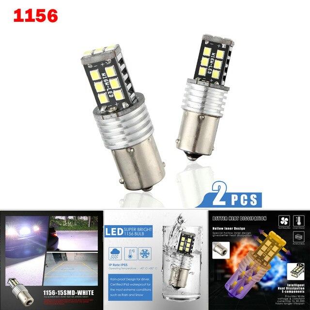 Nuevas lámparas LED para coches 1156 P21W BA15S 2835 15LED Canbus coche marcha atrás bombilla de luz trasera blanca intermitente Luz