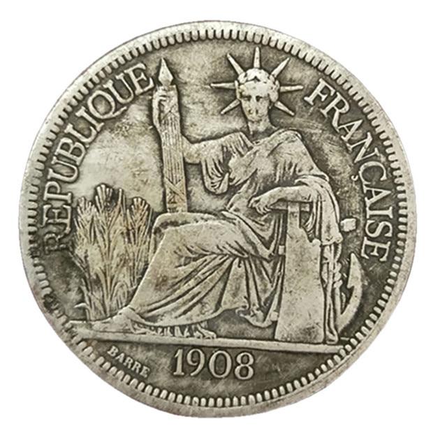 dia 39mm silver color commemorative coins antique 1908 france coin